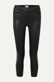 Margot cropped coated high-rise skinny jeans