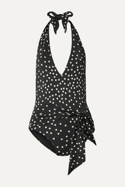 Stella McCartney Tie-front polka-dot halterneck swimsuit