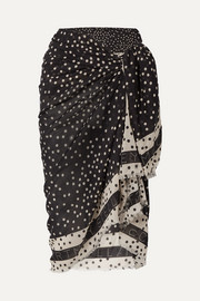 Stella McCartney Frayed polka-dot cotton and silk-blend gauze pareo