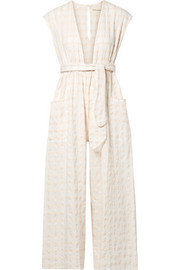 Whitney checked organic cotton-canvas jumpsuit