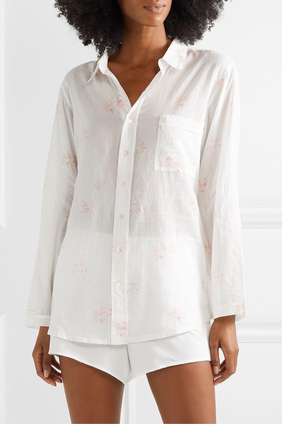 Pour Les Femmes Printed cotton-voile pajama shirt