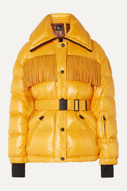Moncler Genius + 3 Moncler Grenoble belted fringed quilted down ski jacket