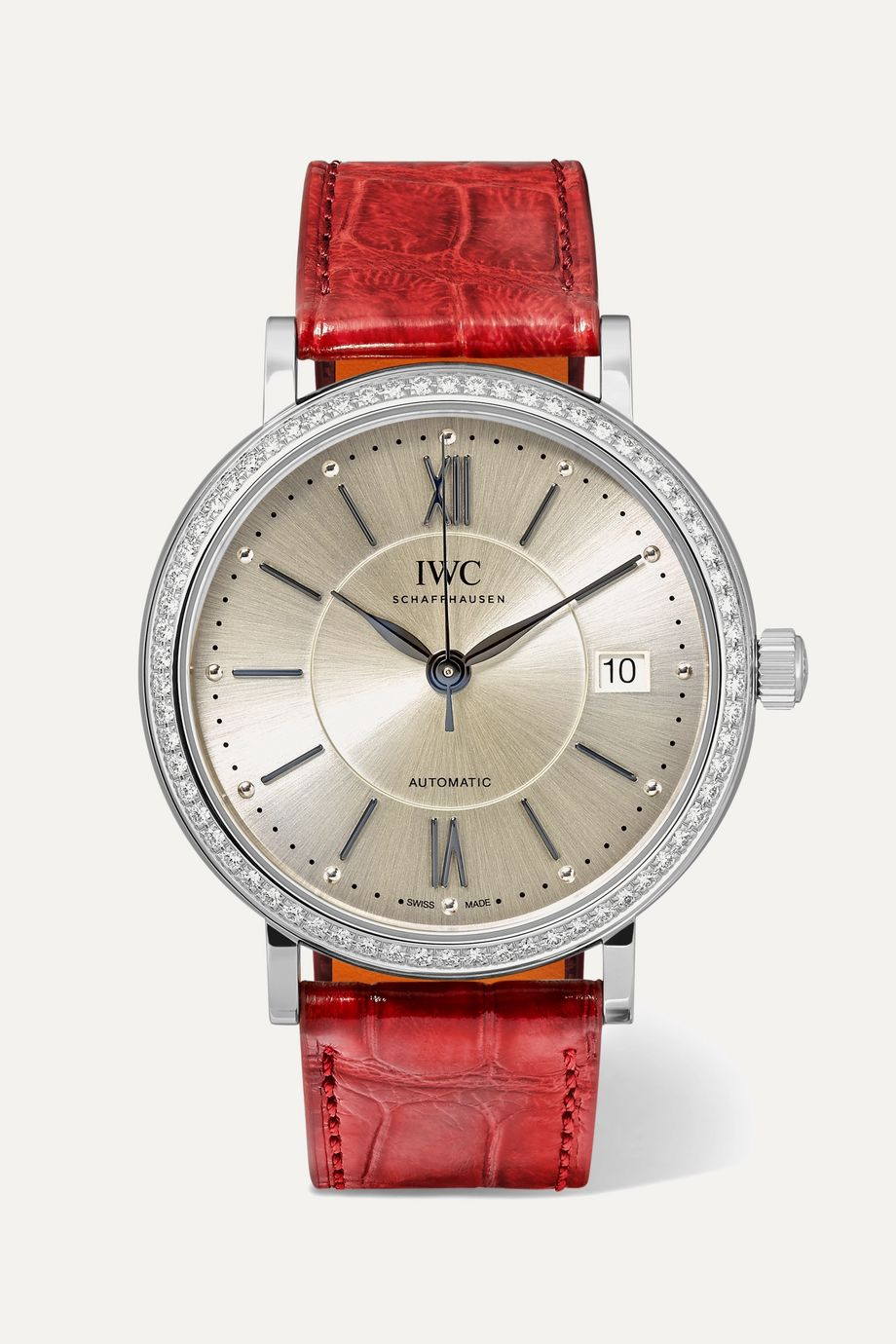 IWC SCHAFFHAUSEN Portofino Automatic 37mm stainless steel, alligator and diamond watch