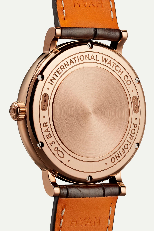 IWC SCHAFFHAUSEN Portofino Automatic 37 毫米 18K 红金钻石腕表(短吻鳄鱼皮表带)