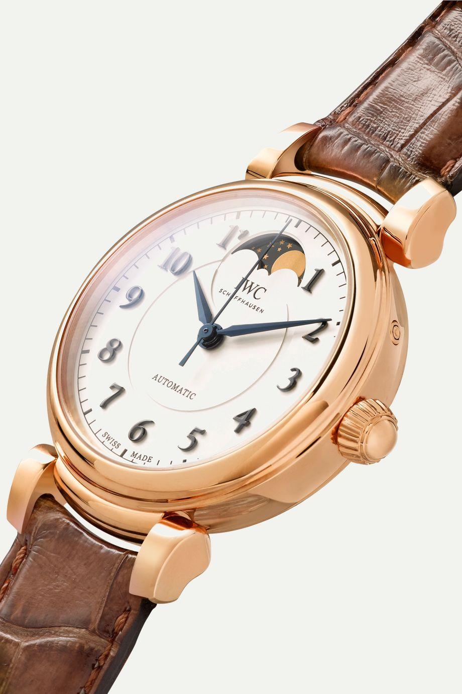 IWC SCHAFFHAUSEN Da Vinci Automatic Moon Phase 36mm 18-karat red gold and alligator watch