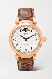 Da Vinci Automatic Moon Phase 36mm 18-karat red gold and alligator watch