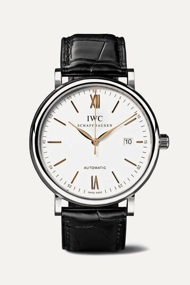 IWC SCHAFFHAUSEN | IWC SCHAFFHAUSEN - Portofino Automatic 40mm Stainless Steel And Alligator Watch - Silver | Goxip