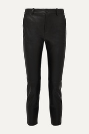 Montauk cropped lizard-effect leather slim-leg pants