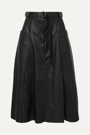 Lila belted leather midi skirt