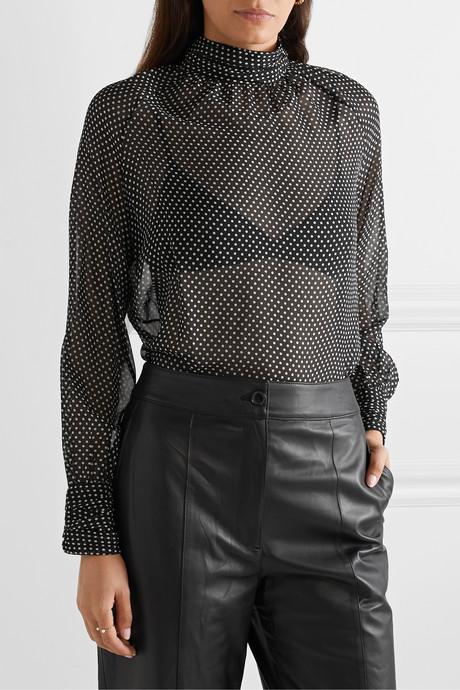 Alana polka-dot silk-chiffon turtleneck blouse