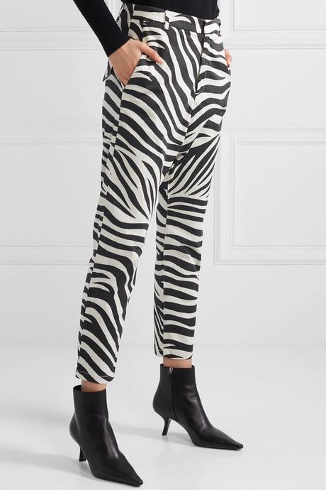 Paris cropped zebra-print cotton-blend poplin pants