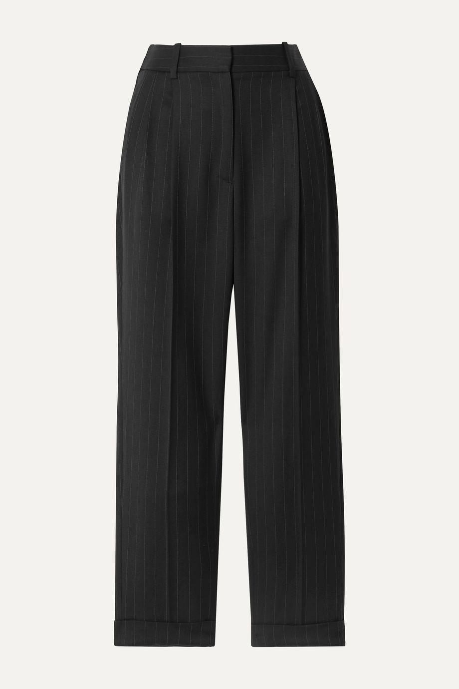 Nili Lotan Montana cropped pinstriped wool-blend twill tapered pants