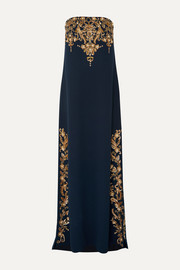 Oscar de la Renta Strapless embellished wool-blend gown