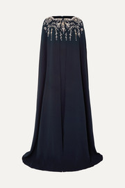 Oscar de la Renta Cape-effect crystal-embellished silk-blend crepe gown