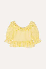 Delia ruffled silk-organza blouse