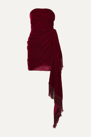Oscar de la Renta Strapless fringed draped velvet mini dress