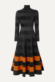 Oscar de la Renta Paneled stretch-knit turtleneck midi dress