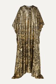 Draped metallic silk-blend brocade gown