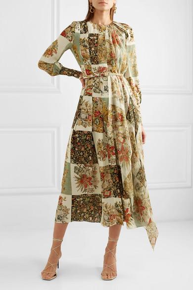 Draped Printed Silk Chiffon Midi Dress by Oscar De La Renta