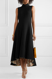 Oscar de la Renta Ornament silk-trimmed wool-blend midi dress