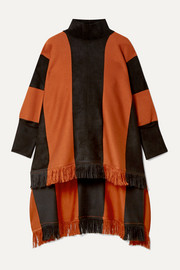 Paneled silk-blend turtleneck poncho