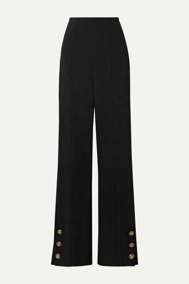 Button Embellished Stretch Wool Blend Crepe Straight Leg Pants by Oscar De La Renta
