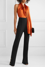 Oscar de la Renta Button-embellished stretch wool-blend crepe straight-leg pants