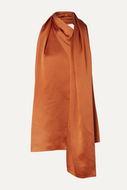 Oscar de la Renta Draped satin halterneck top