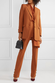 Oscar de la Renta Button-embellished stretch wool-blend twill straight-leg pants
