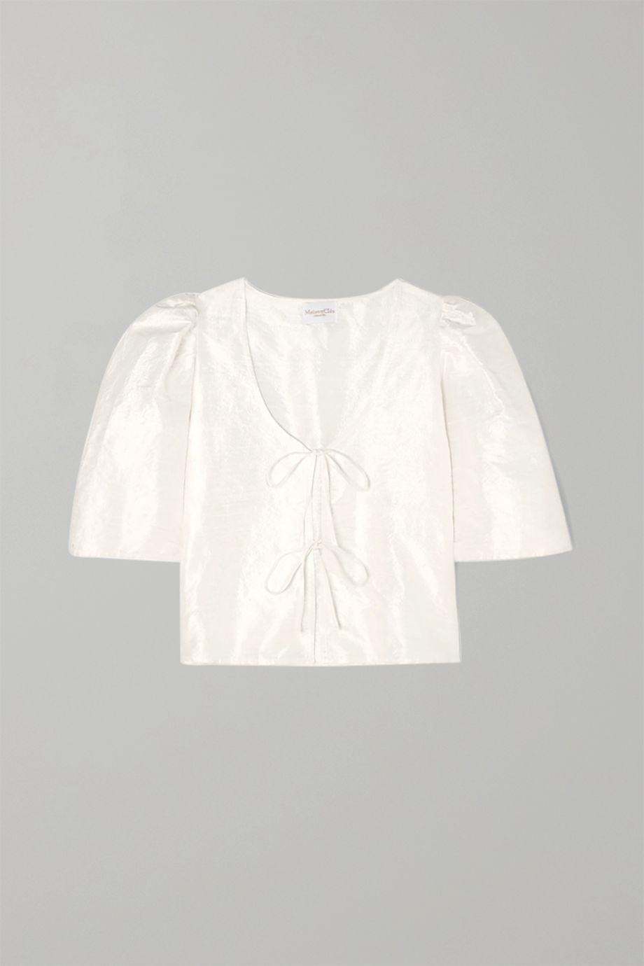MaisonCléo Agnès tie-detailed silk-dupioni blouse