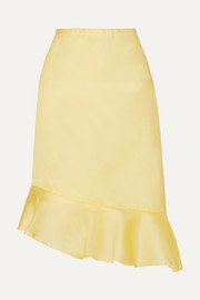 Kika asymmetric ruffled silk-georgette skirt