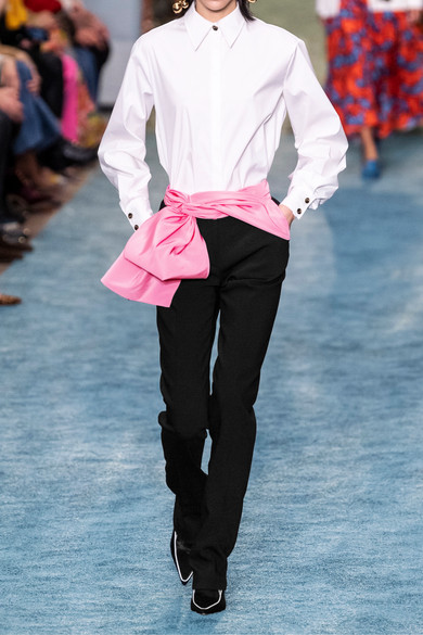 Carolina Herrera Pants Convertible silk-faille trimmed crepe straight-leg pants