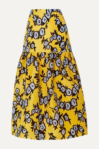 Tiered Floral Print Silk Organza Midi Skirt by Carolina Herrera