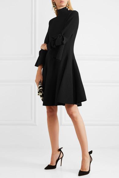 Bow Detailed Ribbed Knit Mini Dress by Carolina Herrera