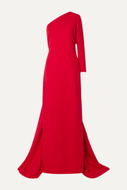 One-shoulder draped silk-crepe gown