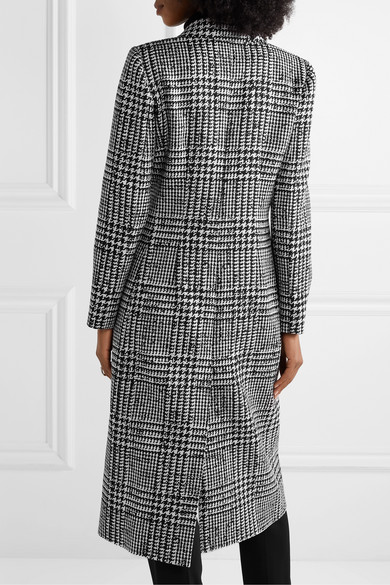 Carolina Herrera Coats Double-breasted crepe-trimmed Prince of Wales checked wool and silk-blend coat