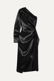 Altuzarra One-shoulder draped satin wrap-effect dress