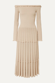 Alisha off-the-shoulder pleated knitted midi dress