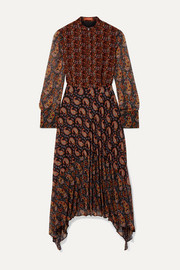 Lakshmi pleated paisley-print chiffon midi dress