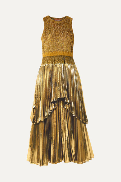 Altuzarra Dresses Mishka metallic cable-knit and pleated Lurex midi dress