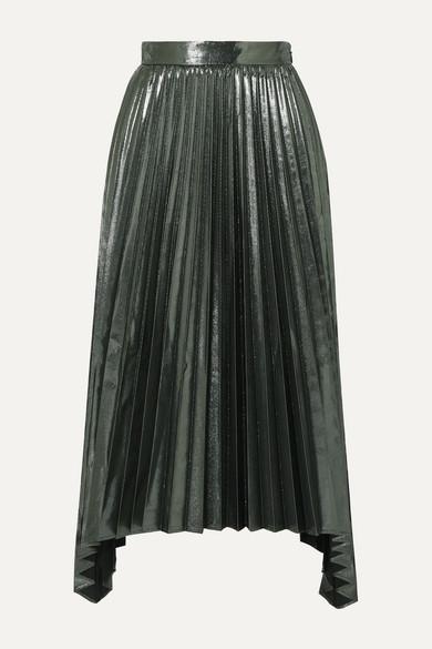 Altuzarra Skirts Freya asymmetric pleated lamé midi skirt