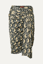 Altuzarra Ruched draped paisley-print stretch-jersey skirt