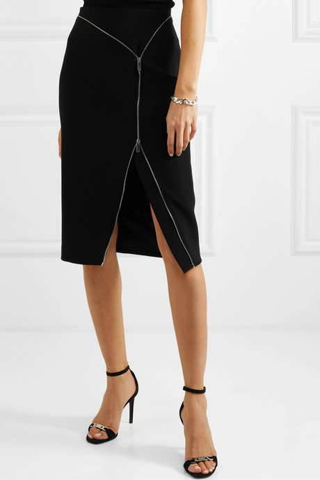 Peck zip-embellished cady midi skirt