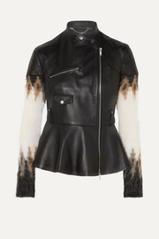 Anika leather and Fair Isle wool-blend biker jacket
