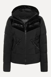 Idunn hooded velvet-paneled quilted down ski jacket