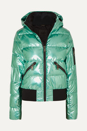 Goldbergh Aura hooded appliquéd quilted metallic down ski jacket
