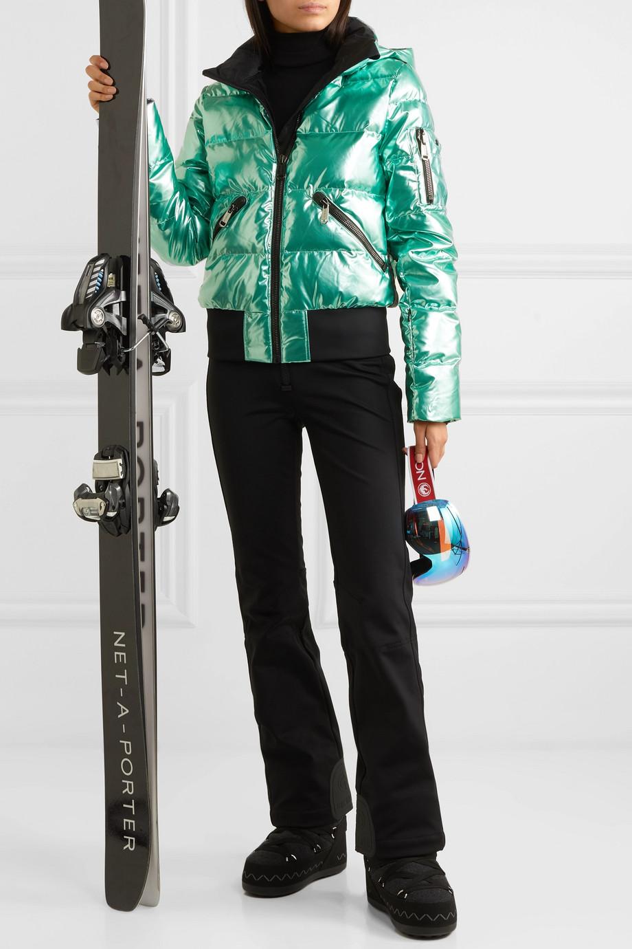 Goldbergh Aura hooded appliquéd quilted metallic down ski jacket