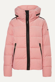 Goldbergh Emmelina hooded quilted velvet down ski jacket