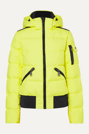 Kohana hooded appliquéd quilted neon ski jacket