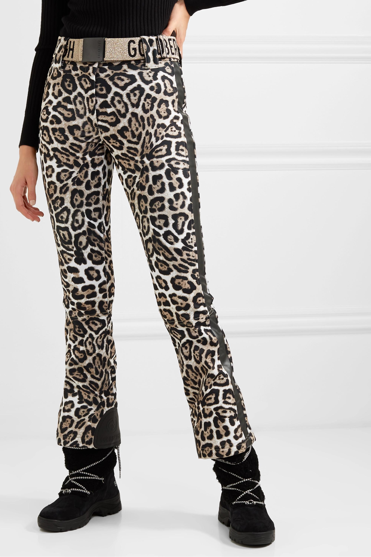 Goldbergh Roar belted faux leather-trimmed leopard-print ski pants